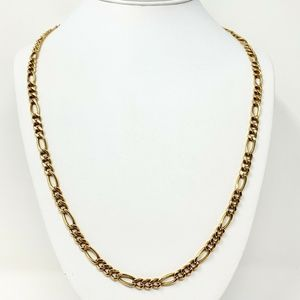 14k Gold 5.5mm Figaro Link Chain Necklace 25.5""